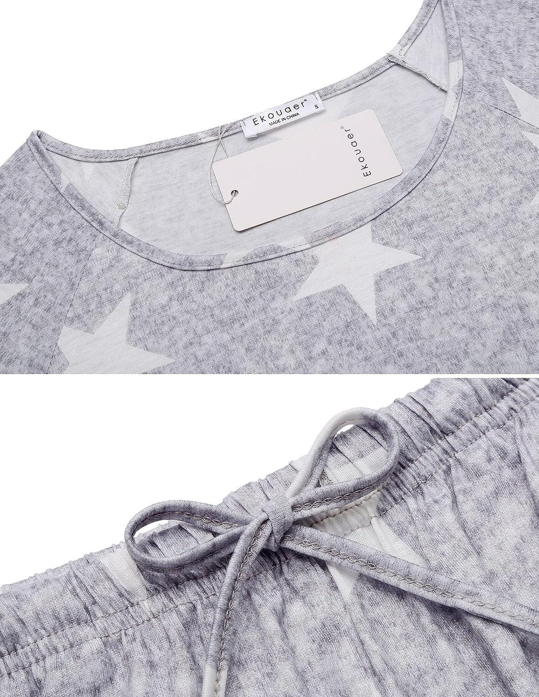 Ekouaer Pajama Set Women's Soft Sleepwear Short Sleeve Loungewear Scoopneck Sleepshirts 2 Piece Pj Shorts Set S-XXL