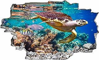 DesFoli Schildkröte Meer Korallen 3D Look Wandtattoo 70 x 1