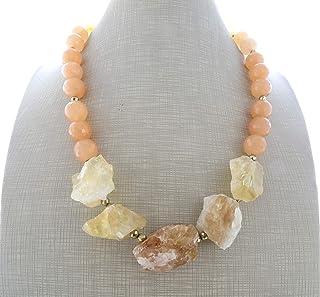 Collana con citrino giallo giada arancione e pirite dorata, girocollo con pietre naturali, bijoux contemporanei, gioielli ...