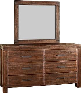 Modus Furniture Meadow Solid Wood Mirror, Brick Brown