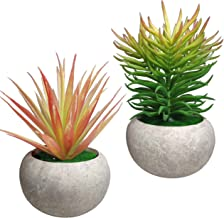 MIXCUTE Mini Artificial Plants 2 Pack Fake Plants Potted Faux Red Grass & Pine Needles with Pots for House, Farmhouse, Bathroom, Office, Home Decor