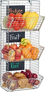 Saratoga Home Premium 3-Tier Wall Mounted Hanging Wire Baskets With Chalkboards - Chrome - High-Grade Iron - Office, Art Supplies or Garage Storage - Fruit or Produce Rack - Industrial-Style Organizer