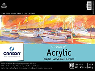 Canson Artist Series Montval Acrylic Pad, Sized Heavyweight No-Buckle Paper, Fold Over, 185 Pound, 12 x 16 Inch, 10 Sheets