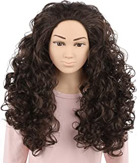 HairWiz 20 Inch Chocolate Brown Brunette Long Curly Wavy Hair Full Head Halloween Cosplay Kids Wig. Wig Cap Incl. (Kids Size)