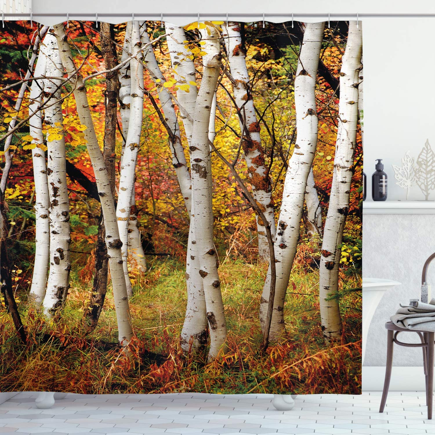Ambesonne Fall Decor Shower Curtain White Fall Birch Trees With Autumn Leaves Growth Wilderness Ecology Calm View Fabric Bathroom Decor Set With Hooks 70 Long Multicolor Home Kitchen Amazon Com