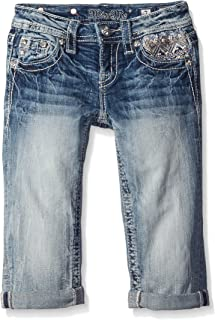 Miss Me Girls' Bead Embellished Denim Capri Jeans