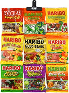 Haribo Gummy Candy Variety Pack (9 Pack) Including: Gold-Bears, Happy Cherries, Fruit Salad, Frogs, Peaches, Happy-Cola, Fizzy Cola, Sour S'ghetti, Rattle-Snakes with By The Cup Bag Clip