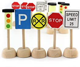 Attatoy Kids Wooden Street Signs Playset, Wood Traffic Signs Perfect for Car & Train Set