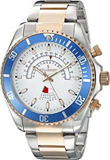Peugeot Men's Masculine Two-tone Silver & 14K Rose Gold Plated Large Big Face Stainless Steel Blue Bezel Day Date Dress Wa...