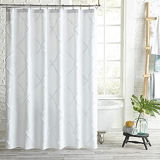 Peri Home Lattice Chenille Cotton Fabric Shower Curtain, 72 x 72 inches, White
