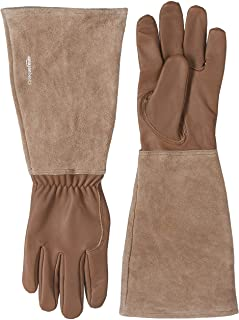 AmazonBasics Leather Gardening Gloves with Forearm Protection, Brown, L