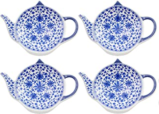 Teapot-Shaped Tea Bag Coasters (4-Pack); Blue & White Tea Spoon/Teabag Caddies