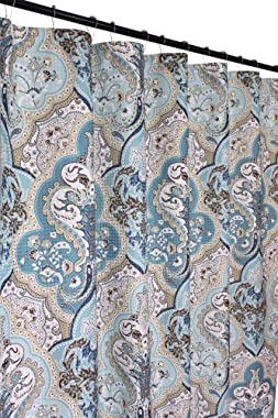 Calais Blue Brown Shower Curtain: Contemporary Floral Paisley Moroccan Damask Design