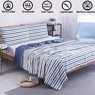 VanRolldex 3 Piece Comforter Set - Thin Quilt Lightweight Bedding Pillowcase Set 100% Cotton Soft Blanket Machine Washable Breathable Comforter Cotton Fill for Summer