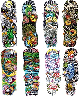 Leoars Colorful Sleeve Tattoos Stickers, Full Arm Temporary Tattoos Sleeves, Fake Watercolor Body Art Arm Tattoo for Kids ...