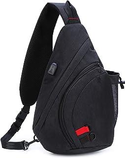 AmHoo Sling Bag Travel Sling Backpack Crossbody Shoudler Casual Daypack for Men and Women Black