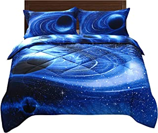 DECMAY Blue Space Bedding Kids 3D Galaxy Comforter Set with Bedroom Pillow Cover Super Soft Fabric Starry Sky Quilt Gift for Boys and Girls Twin (1Comforter&2Pillow Shams)