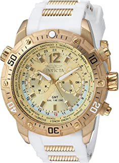 Invicta Men's Aviator Stainless Steel Quartz Watch with Silicone Strap, White, 26 (Model: 24581