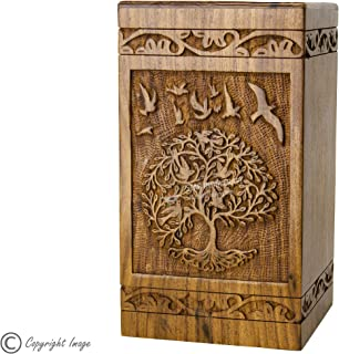 STAR INDIA CRAFT Rosewood Urn for Human Ashes Adult,Tree of Life Wooden Urns for Ashes, Cremation Pet Urns for Dogs Ashes, Wooden Box, Funeral Urn Box (Tower 72, 250 Cu/in)