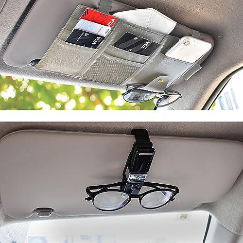 lowest EcoNour sale Gift Bundle | Car Visor Organizer + Sunglasses Holder for Car (4 Pack) | Visor Auto sale Interior Travel Accessories | Automotive Accessories Interior sale
