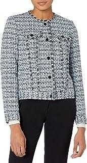 Karl Lagerfeld Paris Women's Tweed Jacket, AIR Blue Multi