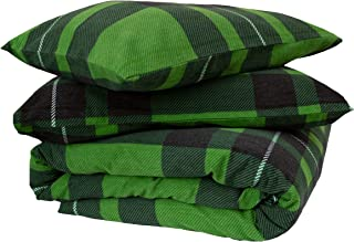 Friends at Home %100 Cotton Heavyweight Flannel Duvet Cover Sets (Green/Black, Queen)