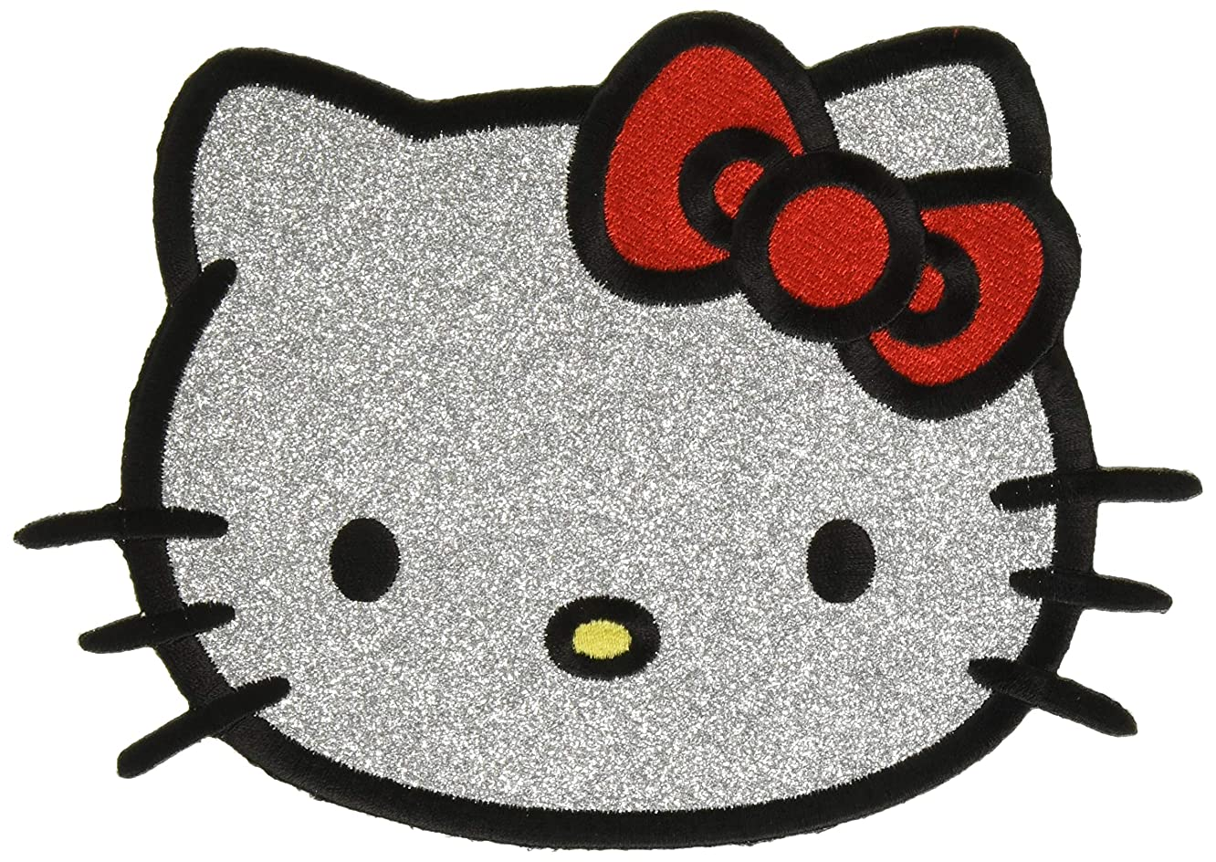 C&D Visionary Hello Kitty Headshot in Glitter Back Patch Iron-On Patches (P-HK-0032-G)
