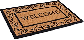 BIRDROCK HOME Welcome Coir Doormat with Scroll Border - 24 x 36 Inch - Oversized Welcome Mat with Black Border and Natural...