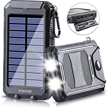 Solar Charger 20000mAh YOESOID Portable Solar Power Bank with Dual USB Output Waterproof External Battery Pack Compatible Most Smart Phones, Tablets and More