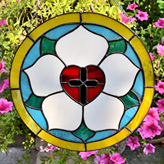 Luther Rose Round Stained Glass Panel 10 Inch for Window Hanging or Wall Decor, Lutheran Cross