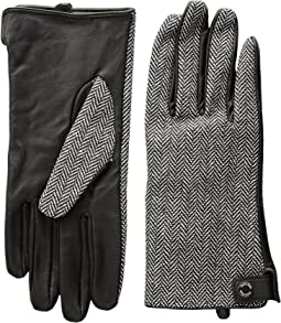 Calvin Klein - Leather Palm Herringbone Gloves