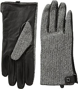 Calvin Klein - Leather Palm Herringbone Gloves