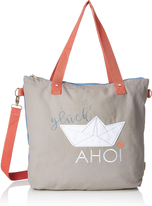 Adelheid Glück Ahoi Einkaufstasche, Women's CrossBody Bag, Grey (Kieselgrey), 10x43x43,5 cm (B x H T)