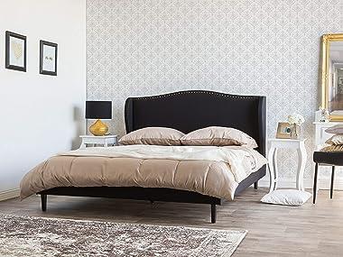 Beliani - Lit - Colmar - 140 x 200 cm, en Tissu, Noir