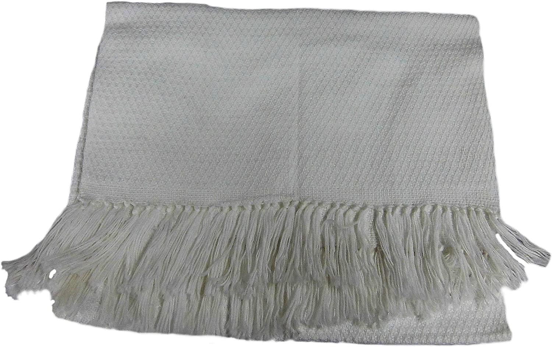 Alpakaandmore Unisex Wooven White Scarf Alpaca Wool Shawl