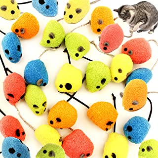Youngever 20 Pcs Cat Toys, Rattling Mice, Cat Mouse Toys, Catnip Cat Toys, Interactive Play for Cat, Puppy, Kitty, Kitten