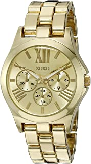 XOXO Womens Quartz Watch, Analog Display and Gold Plated Strap XO5864