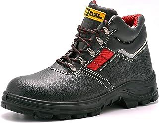 Black Hammer Chaussures De Sécurité Hommes Bottes De Sécurité en Cuir Travail Antidérapante Embout Acier Semelle Anti-Perf...