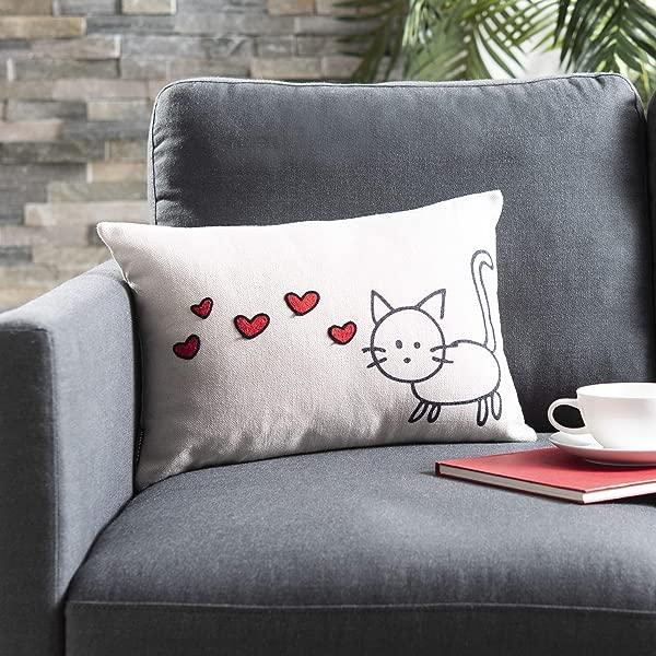 Safavieh Kitty Love Throw Pillow Cream Red