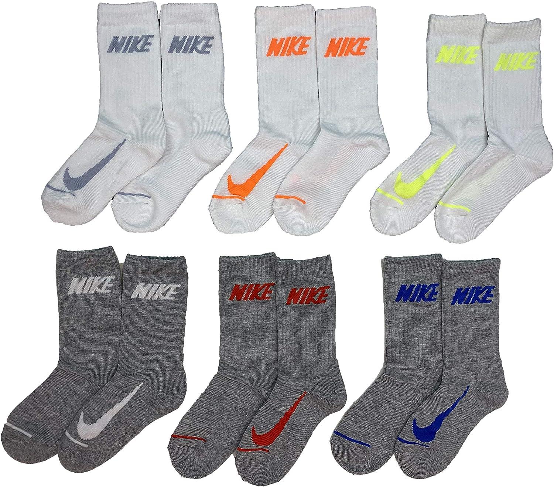 Nike Boy`s Cushioned Crew Socks 6 Pack