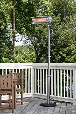 Fire Sense Stainless Steel Telescoping Offset Pole Mounted Infrared Patio Heater with Wheels | 1500 Watts | Weighted Base | T