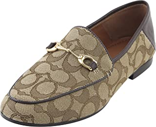 dbcdd88ec6b Coach Women s Hayley Signature Jacquard Loafers Shoes 8 B US Women in  Khaki Mahogany