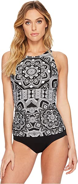 Jantzen - Black & White Medallion High Neck H-Back One-Piece