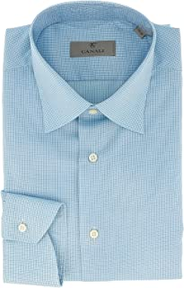 Canali Blue Grid Formal Shirts for Mens