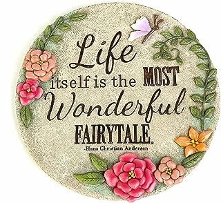 Topadorn Garden Décor Polystone Stepping Stone Round,The Most Wonderful Fairytale