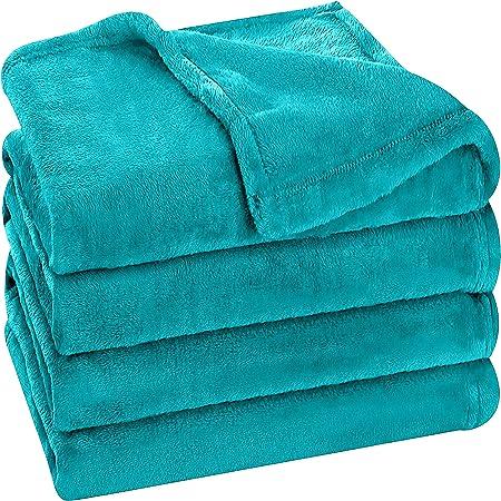 Turquoise plaid 64 x 48 Inches Soft fuzzy warm cuddly fleece throw blanket