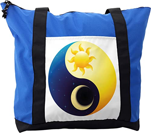 Lunarable Ying Yang Shoulder Bag, Sun and Moon Night Day, Durable with Zipper