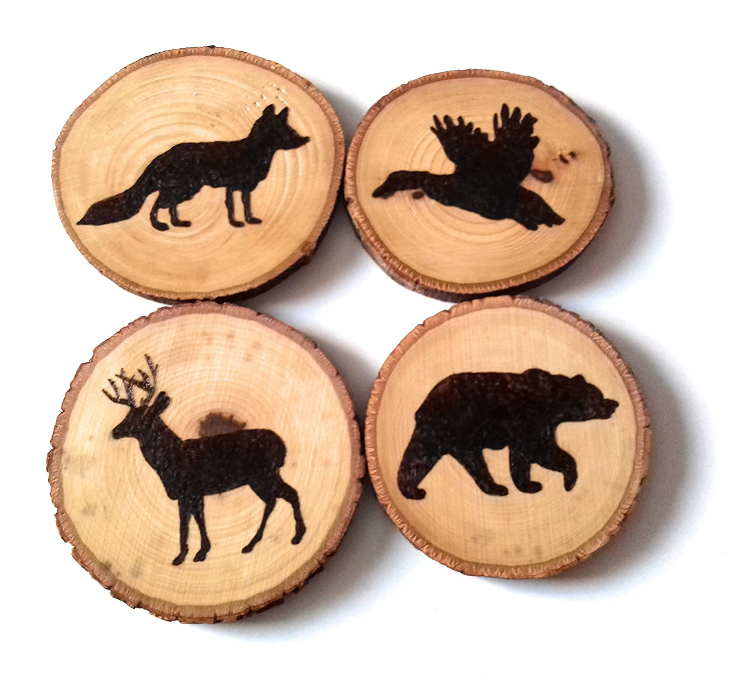 Forest Animals Wood Burned Tree Slice Coasters New Sales of SALE items from new works popularity