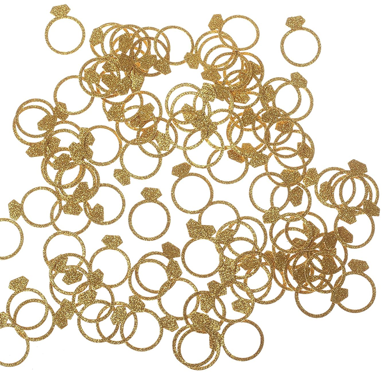 Ling's moment Diamond Ring Confetti for Wedding, Bridal Shower, Bachelorette Decor & Engagement Ring Confetti, Gold Table Glitter Paper Confetti, DIY Kits, 100pcs of 1