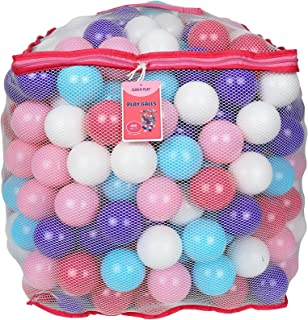 Click N' Play Value Pack of 400 Crush Proof Plastic Play Balls, Phthalate Free BPA Free, 5 Pretty Feminine Colors in Reusable and Durable Mesh Storage Bag with Zipper-Little Princess Edition